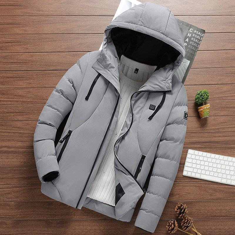 智能USB电加热外套男羽绒棉棉衣 温控发热服冬季保暖棉服充电棉袄