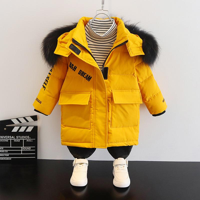 儿童装男童羽绒服女童2020新款中小童宝宝中长款洋气加厚冬外套潮