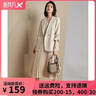 拉夏女装西装外套女2020秋季新款两件套洋气减龄显瘦套装1T0C3019