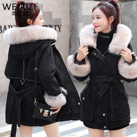 中长款加绒牛仔外套女黑色2020冬装羊羔毛收腰显瘦加厚大毛领棉服