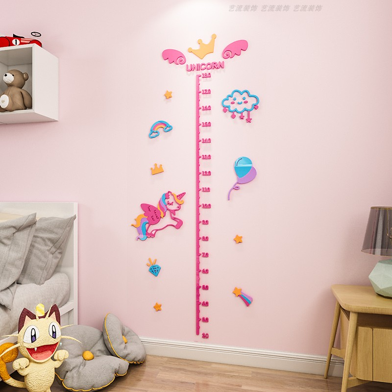 Ma Baoli stickers childrens room decoration baby cartoon height stickers 3D self adhesive removable height wall stickers