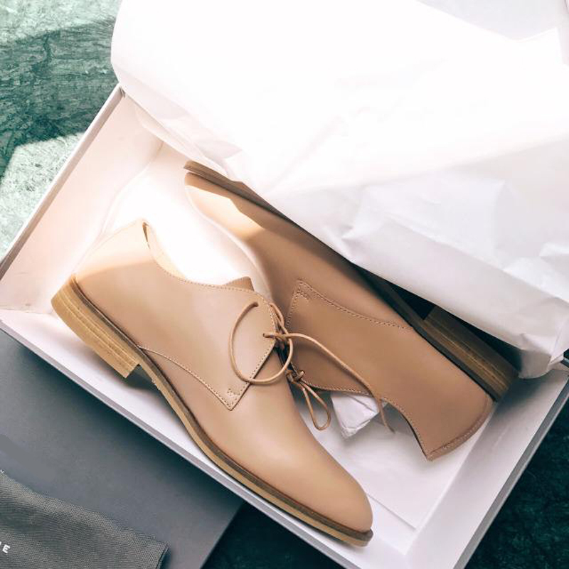 Oxford Shoes with pointed headband, womens everlane, British Lefu shoes, nude single shoes, Japanese versatile flat shoes