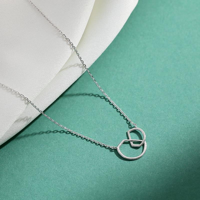 925 Sterling Silver double ring geometric clavicle chain womens simple ins small design with sweater Necklace in winter