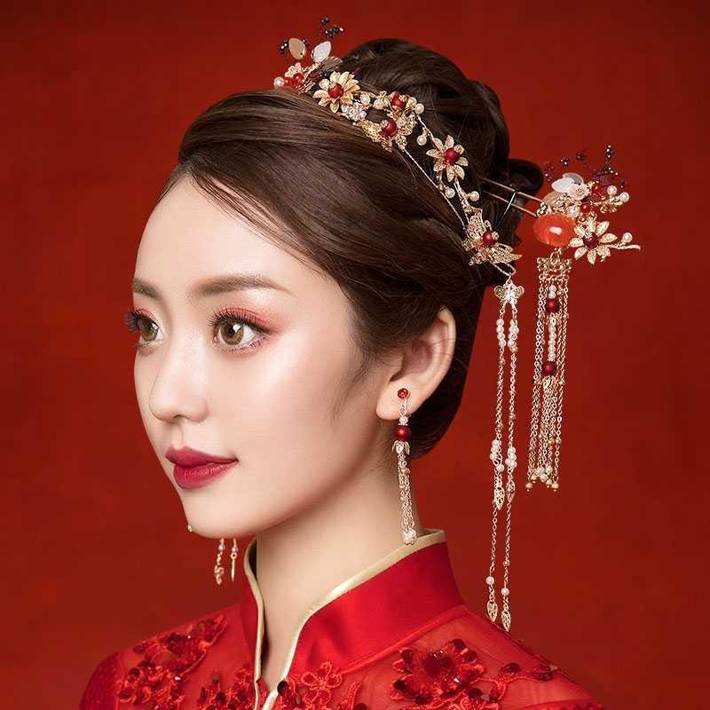 。古代婚纱大结婚大气显脸中式头饰流苏款简单新娘