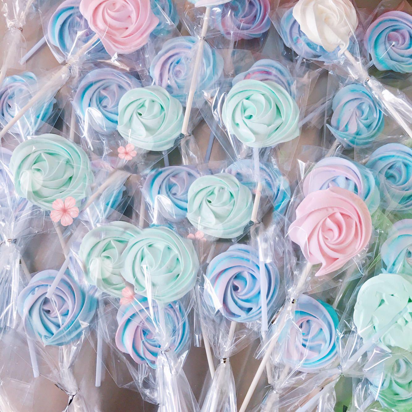 (用1元券)网红创意马林糖蛋白糖玫瑰形状蛋糕