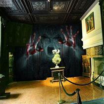 恐怖鬼屋装饰背景墙壁纸个姓主题酒店酒吧壁画狼人杀剧本杀墙纸3D