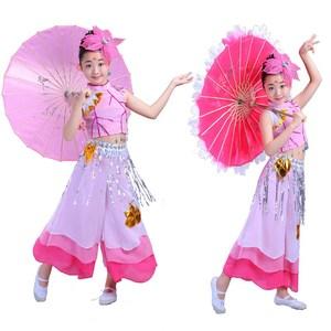 包邮儿童荷塘月色古典舞蹈服女秧歌小荷演出伞舞扇子舞幼儿服