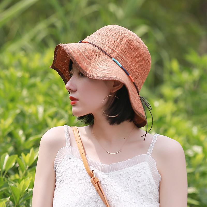 Summer mixed color dyed side pull large brim Lafite hat fashion beach Korean version sun proof hat Sun Visor Hat straw hat
