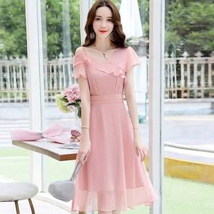 森系超仙簡約小禮服平時可穿夏禮服裙女宴會氣質晚裝主持人連衣裙