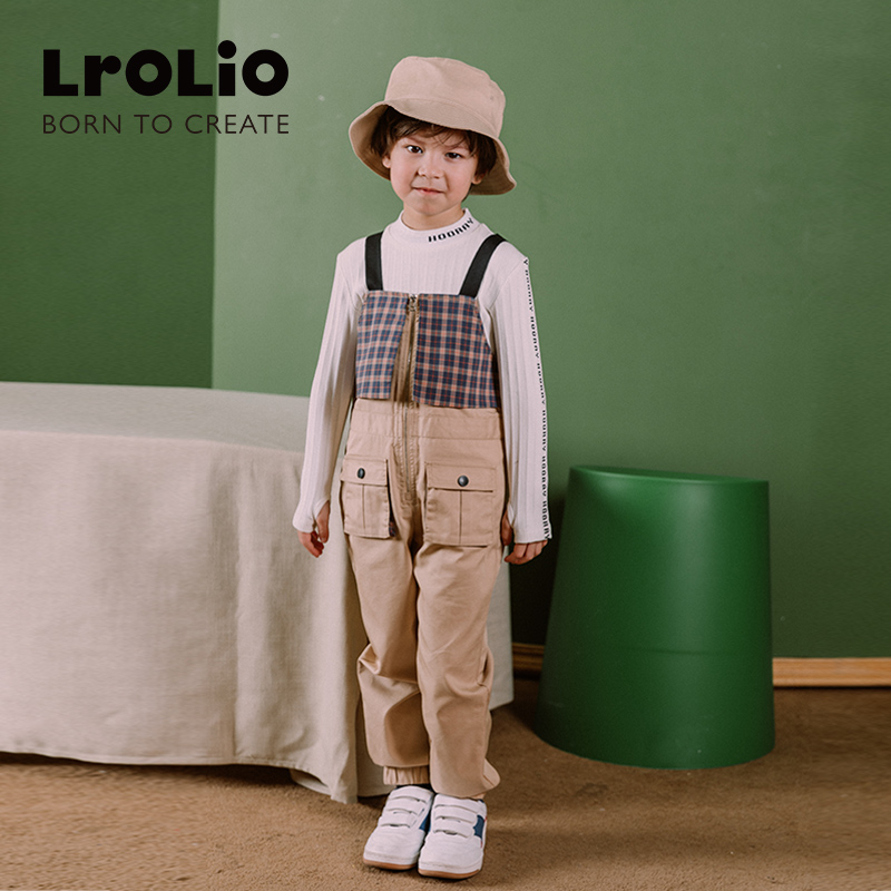 Lrorio childrens spring wear belt pants foreign style loose retro personality Plaid casual Jumpsuit