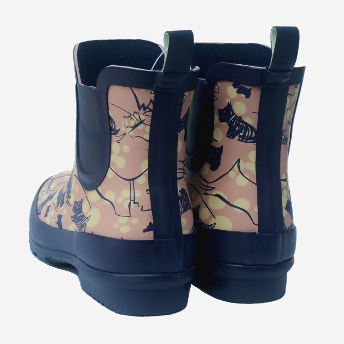 Japanese fashion womens dog pattern rubber rain shoes lady short rain boots low top anti slip girl students water shoes