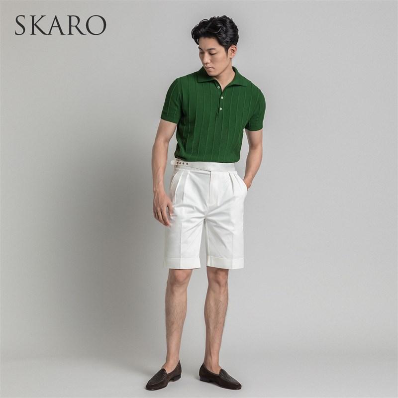[O Xinjiang long staple cotton] skra new knitted Upolo shirt mens Lapel short sleeve T-shirt business casual polo shirt half