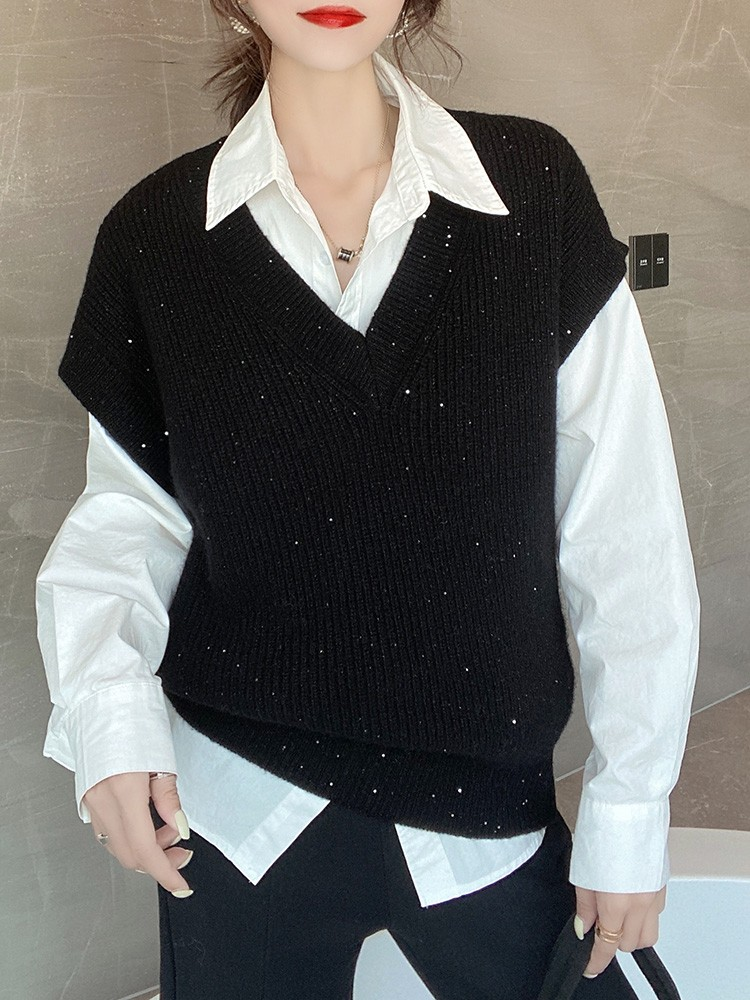 Shining starlight wrapping temperature lazy wind thickened V-neck cashmere sweater womens vest vest new autumn and winter 2021