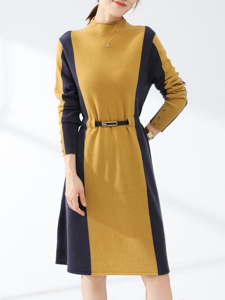 love at first sight! 2021 autumn winter new semi high neck cashmere sweater womens dress medium length sweater womens sweater