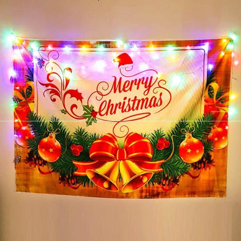 房间酒店圣诞节装饰场景布置圣诞礼物挂旗门头吊顶拉旗小夜灯礼物