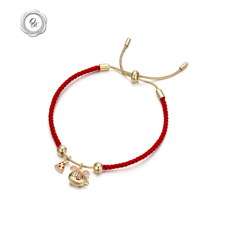 Or (jewelry) Red Rope Bracelet womens red rope benmingnian mouse year jewelry belongs to mouse bracelet gift