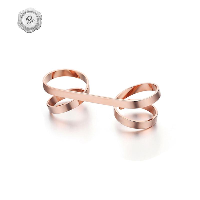 OR个性装饰品镀金玫瑰金 时尚超仙双指指环螺旋连指戒指女