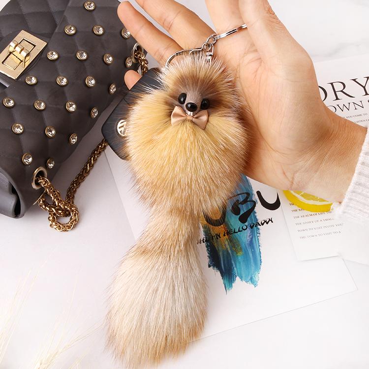 小狐狸皮草挂件可爱毛绒尾巴松鼠真毛球车钥匙扣包挂饰手机吊坠