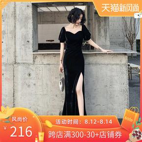 黑色晚礼服女气场女王年会宴会一字肩丝绒性感高贵气质连衣裙长款