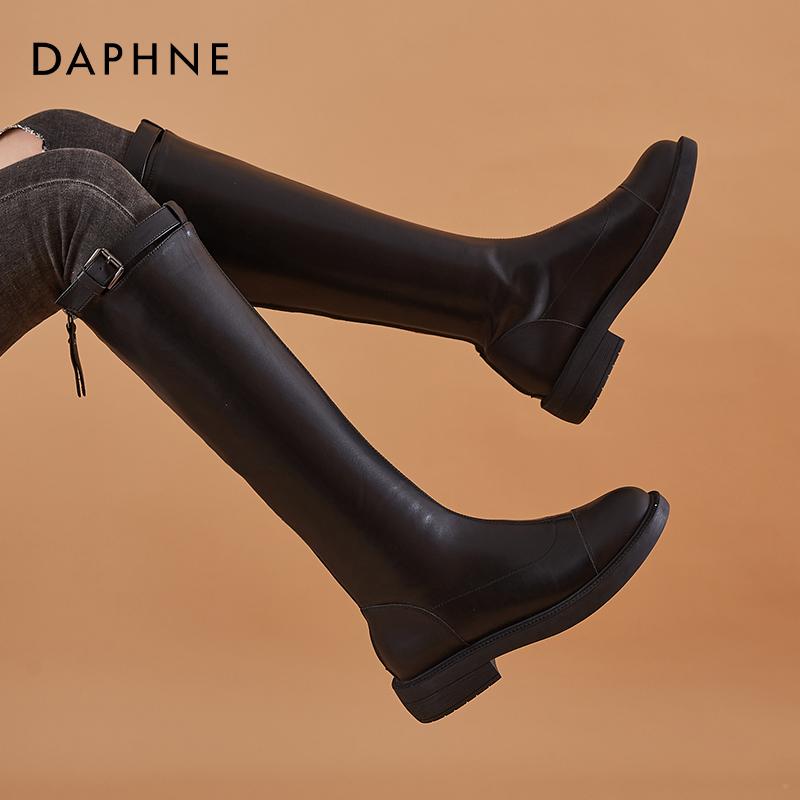 新款春秋平底长筒靴女不过膝高筒靴百搭2020达芙妮长靴显瘦骑士靴