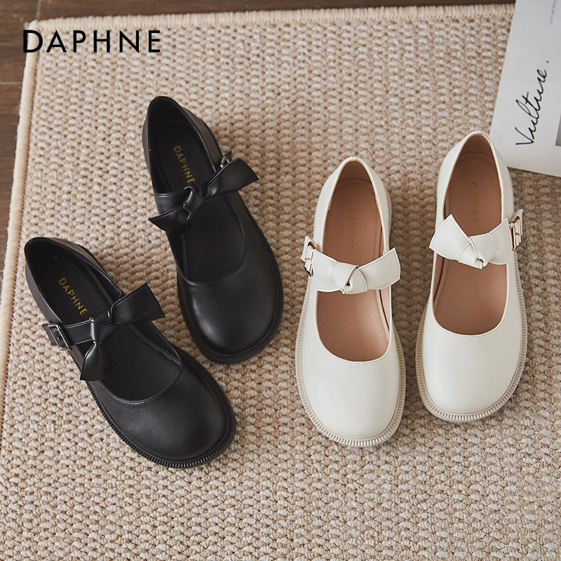 Daphne Japanese Mari Haizhoid shoes female white Lolita shoes JK shoes round soft skin low heel flat shoes