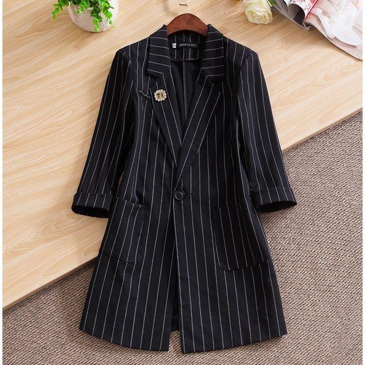 Striped suit coat womens spring 2019 Black Medium Length versatile slim waist casual spring professional suit