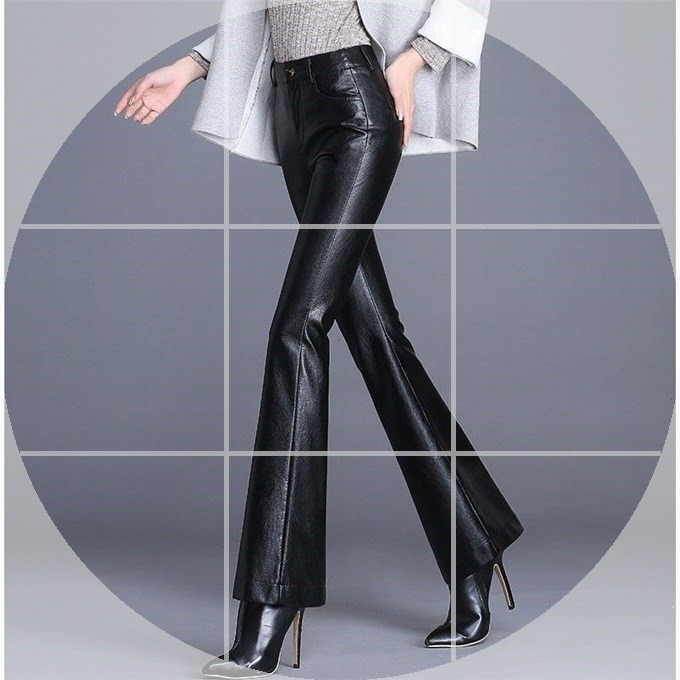 [LT] high waist leather pants womens new autumn / winter 2019 thin PU leather pants are loose and oversized with plush for outer wear