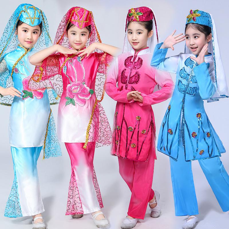 回族舞蹈服装少数民族演出服新疆维吾尔族套装女童新款小学生服饰