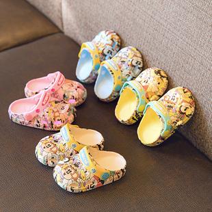 巴布豆寶寶拖鞋夏1-3歲2嬰兒幼兒兒童涼拖洞洞小童男女童防滑沙灘