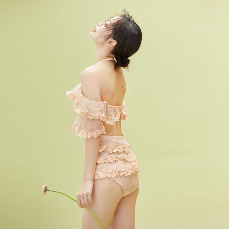 泳衣女保守遮肚显瘦仙女范小胸聚拢温泉度假韩国ins学生连体泳装