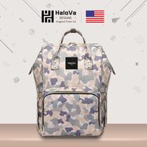 美国HaloVa妈咪包2020新款时尚迷彩双肩包多功能手提外出母婴包女