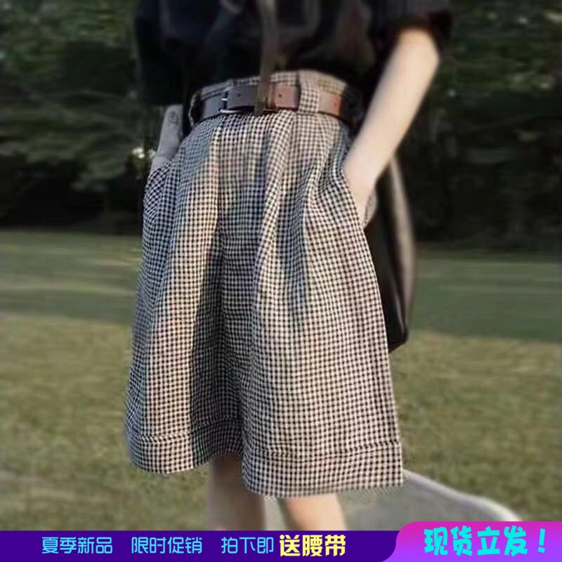 Plaid Capris womens loose 2020 summer high waisted cotton and linen short belt casual Japanese retro wide leg pants