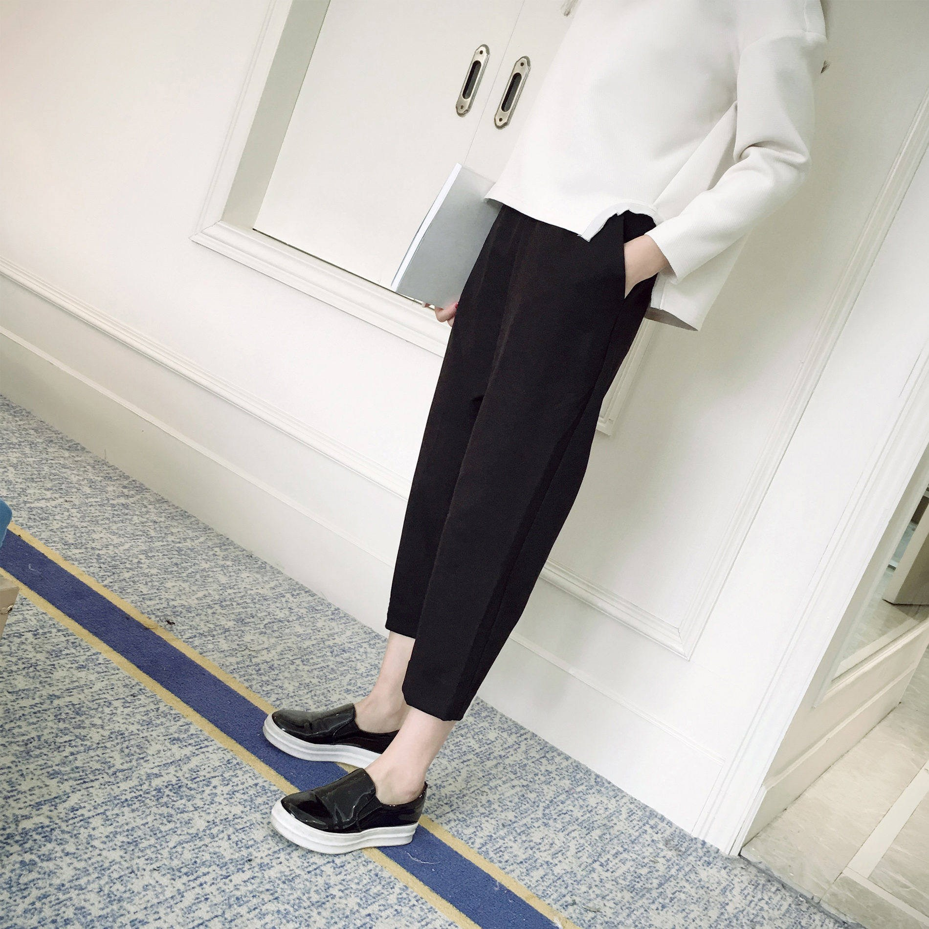 Grandmas radish looks thin in summer, all kinds of loose casual pants, Harun womens thin ice silk suit, 7-point pants, little man
