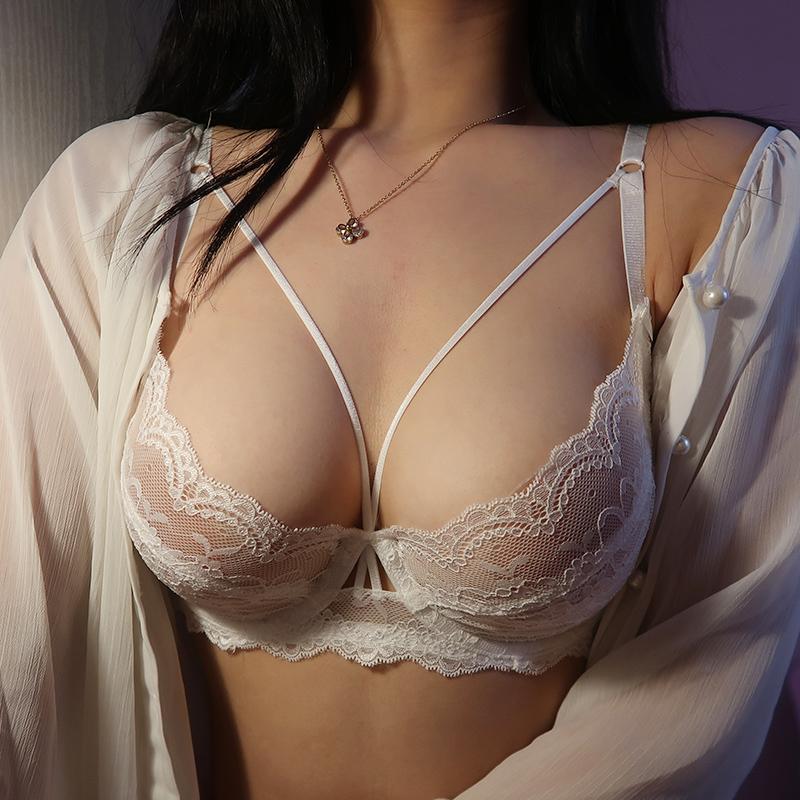 开始绽放性感超薄内衣女套装蕾丝透明收副乳文胸大码聚拢大胸显小