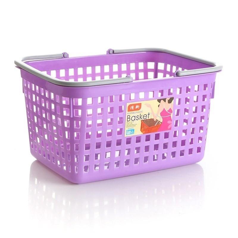 超市购物篮大号塑料手提篮子加厚便利店提篮酒水筐框小号白色水果
