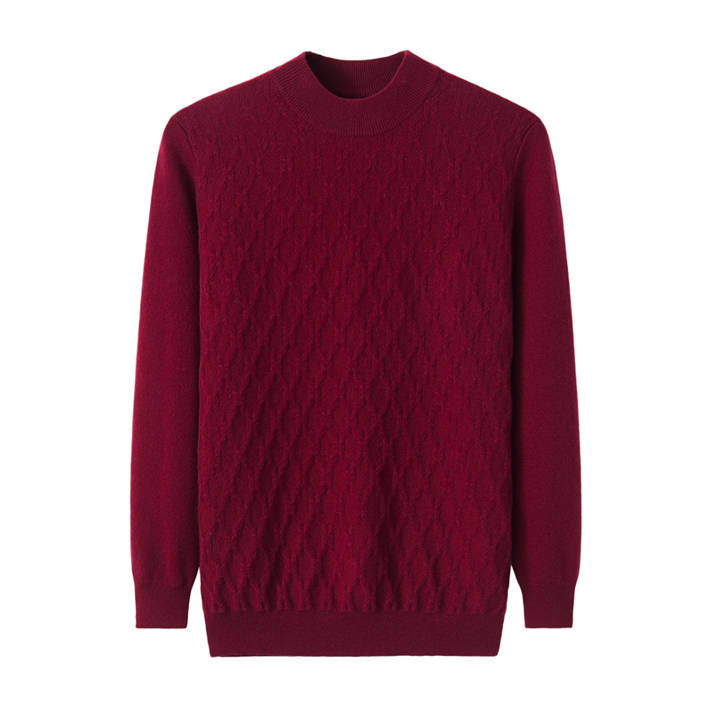 Nianchang origin Erdos pure cashmere sweater mens round neck jacquard Pullover bottomed sweater mens sweater