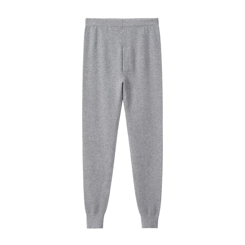 Pure cashmere pants mens middle waist close fitting warm woolen pants large slim solid color pants autumn and winter new mens pants
