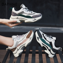 Daphne 2019 new leather leisure sports shoes tiger tooth slope shoes with Daddy shoes net red ins fashion shoes female
