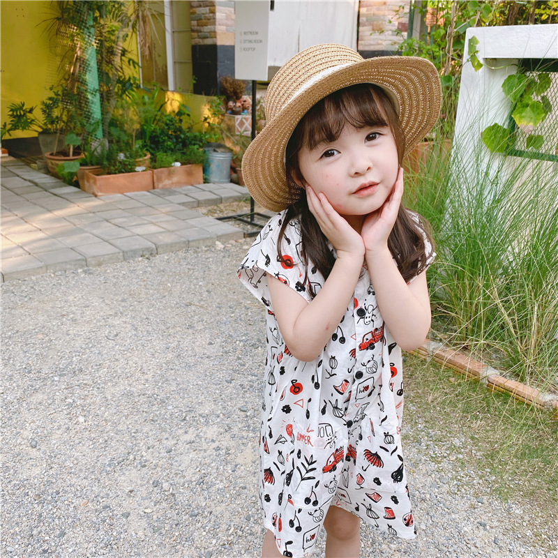 2020 childrens summer new products girls Korean summer sling Jumpsuit Jumpsuit shorts 20320