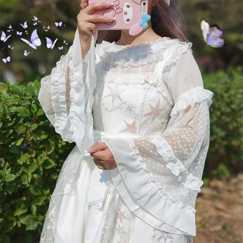 Lolita soft girl shaggie sleeve Neck Lace Chiffon Lolita Lo skirt lantern long sleeve jsk shirt