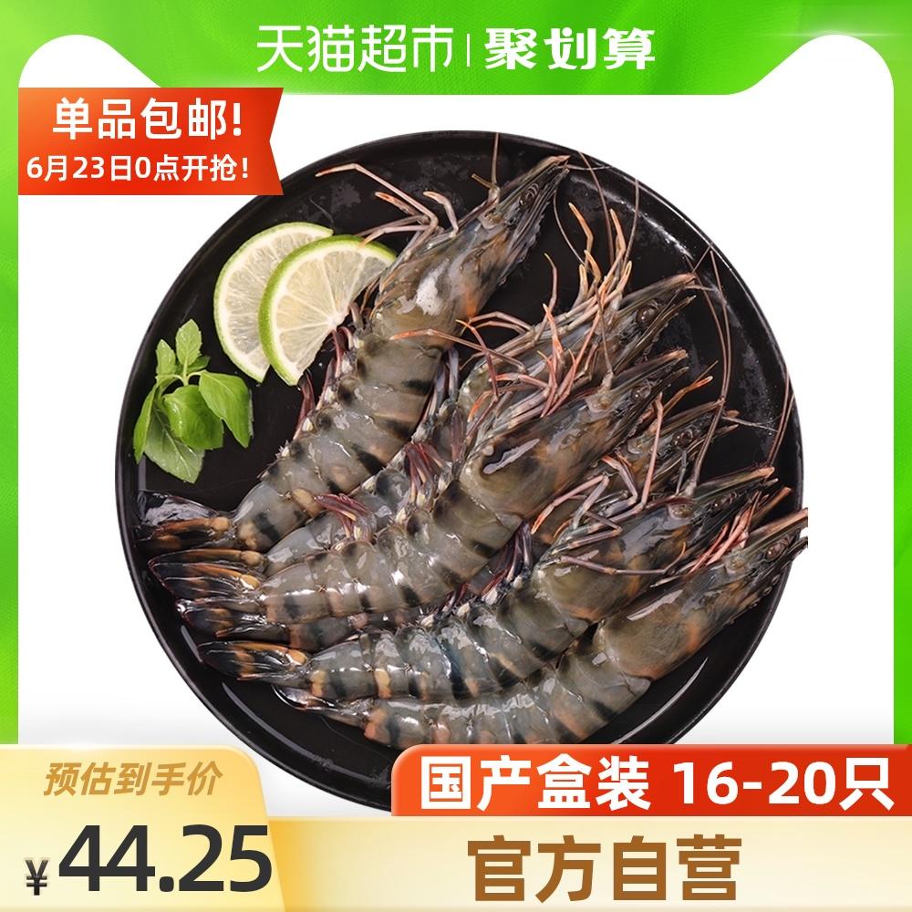 寰球渔市国产黑虎虾大号冷冻虾老虎虾净重400gx1盒海鲜水产16-20