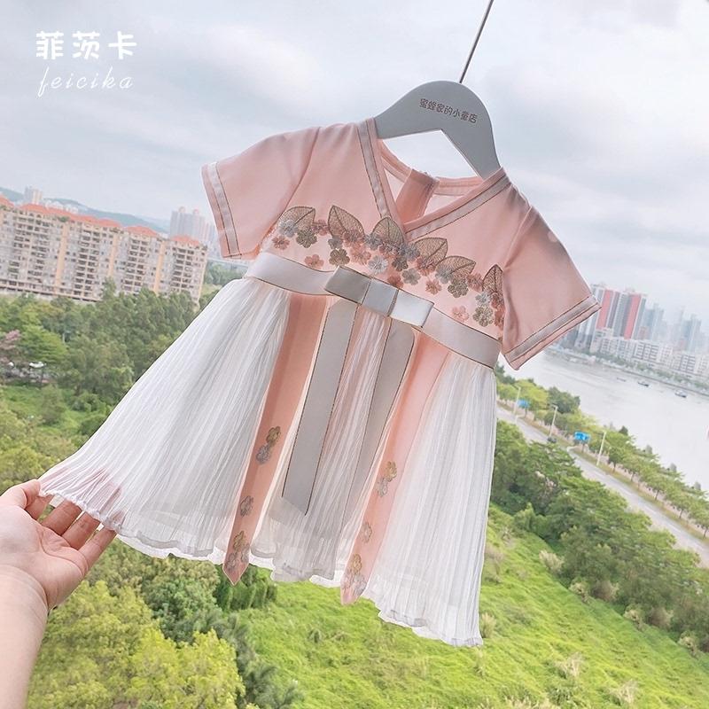 女童女婴汉服襦裙夏古装儿童夏装新款中国风唐装女宝宝雪纺连衣裙