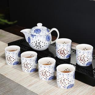 雅辞坊青花瓷玲珑带过滤茶壶水杯子家用办公大号陶瓷功夫茶具套装价格
