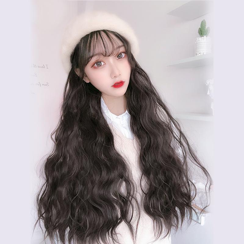 假发帽子一体时尚女韩版潮春夏款长卷发网红百搭毛绒贝雷帽水波纹