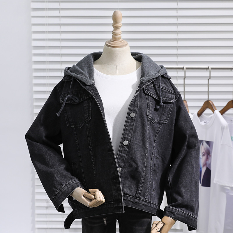 2020 spring and Autumn New Korean version loose and thin detachable hooded denim jacket girl student BF Long Sleeve Jacket trend