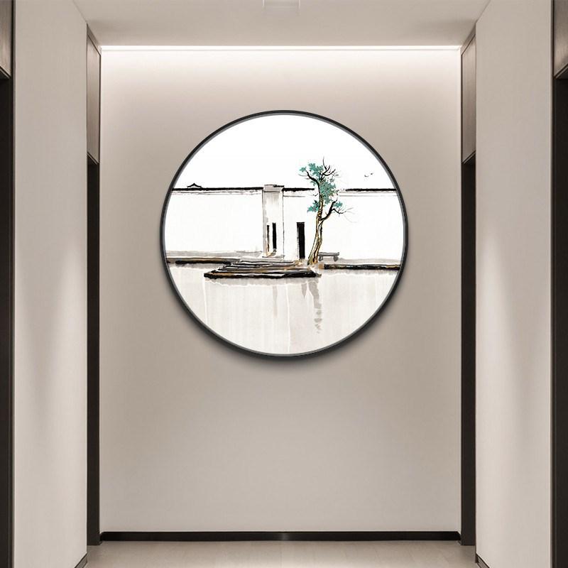 新中式玄关装饰画水墨名画巨幅壁画办公室挂画吴冠中双燕