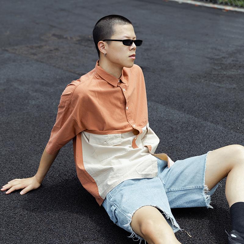 ETEA2020夏季拼接撞色休闲短袖工装衬衫男 痞帅港风宽松衬衣潮流