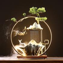 招财流水摆件创意灯圈喷泉景观风水客厅办公室开业送礼桌面装饰品