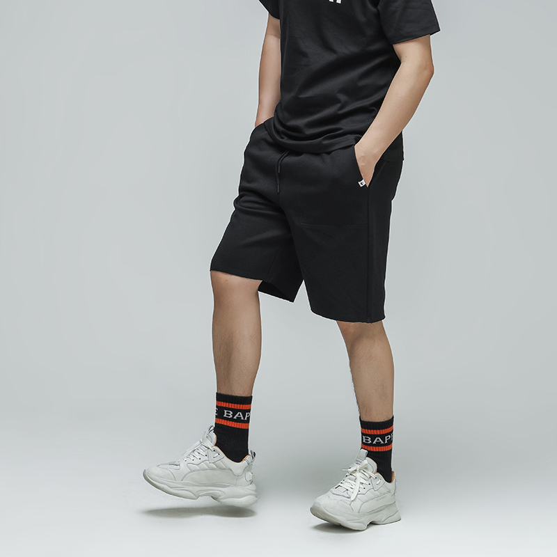 R27 mens mid waist summer new basic casual casual straight tube Sports Youth mass solid color shorts