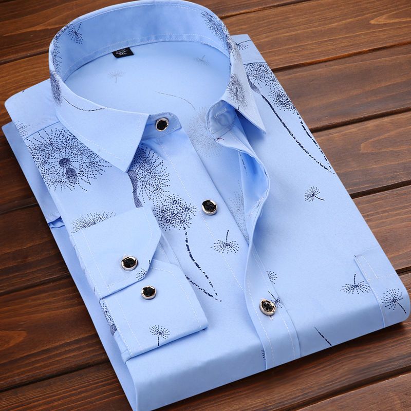 Spring and summer 2020 new mens thin white Long Sleeve Shirt young and middle-aged business solid color printing tooling clothing mens clothing